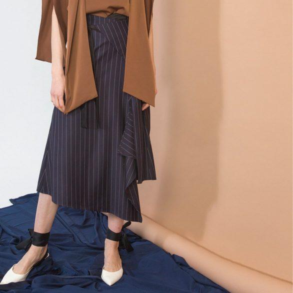 Navy Striped Asymmetric Skirt