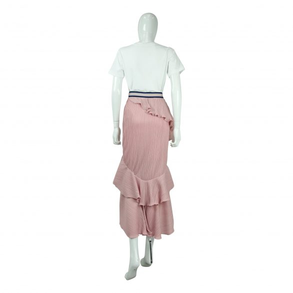 Tiered Pleated Skirt in Pink