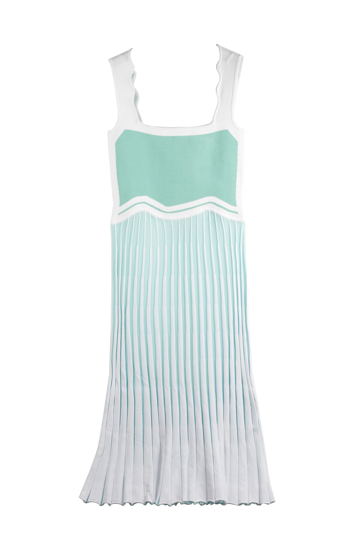Parlor Wavy Tank Dress Mint Green