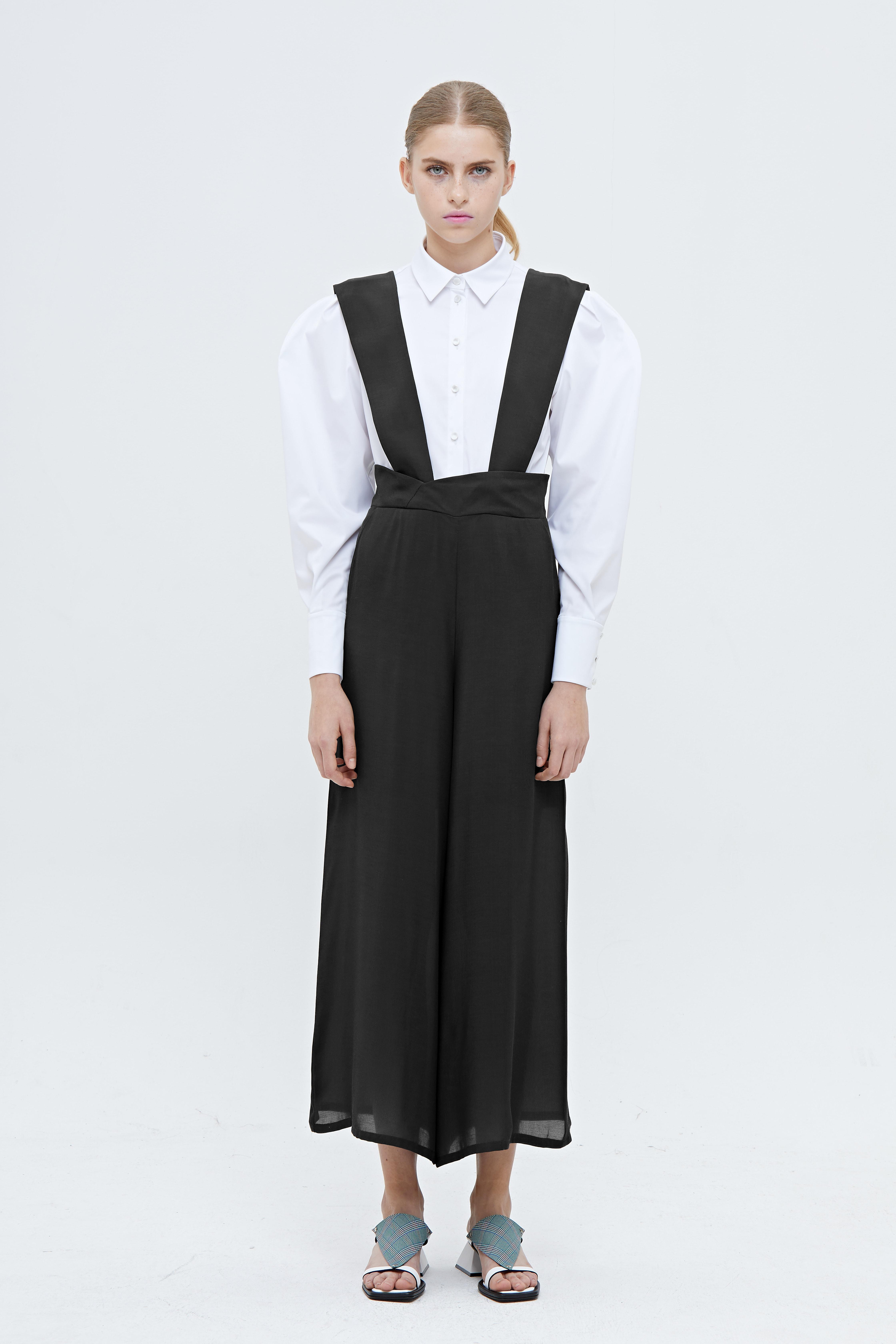 2160e00c09a Wide-legged Suspender Pants in Black - SocietyA