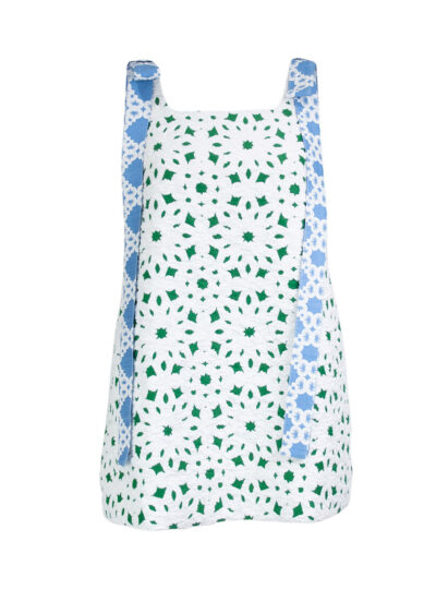 Big Bow Mini Dress in Green and Blue