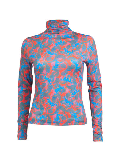 Red Horse Pattern Turtleneck Jersey Top 1
