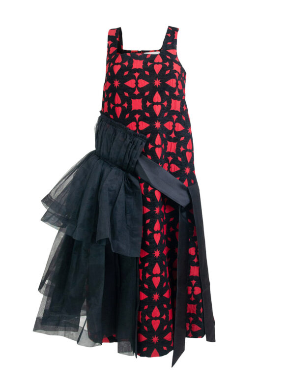 Ruffle Asymmetrical Dress in Black and Red