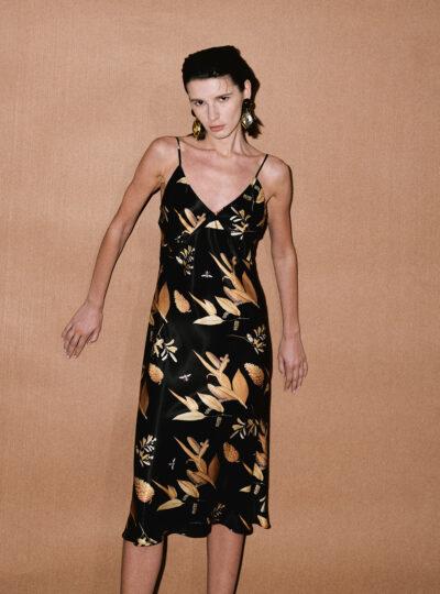 Charm Printed A-line Cutout Midi Dress