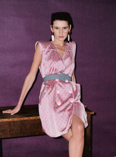 Dazzle Sleeveless Pink Dress in Grey Polka Dots